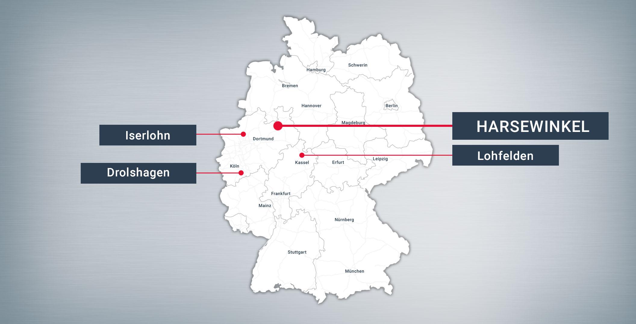 Deutschlandkarte Harsewinkel Drolshagen Lohfelden-bei-Kassel Standorte Hujer-Lasertechnik Ihr Laserdienstleister Industrielle Laserbearbeitung 3D-Lasertechnik 2D-Lasertechnik Laserschweißen Rollenrichten CNC-Abkanten Buckelschweißen Laserschneiden 2D-Laserschneiden 3D-Laserschneiden